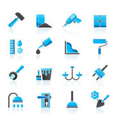Construction and building equipment Icons — Stock Vector