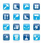 Construction and building equipment Icons — Stock vektor