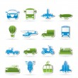 Transportation and travel icons - Image vectorielle
