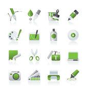 Iconos de diseño gráfico y web — Vector de stock