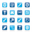 Different kind of car parts icons - Stock Vector