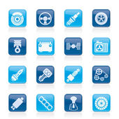 Different kind of car parts icons — Stock Vector