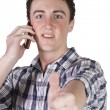 Casual Businessman Talking on the Phone While Giving the Thumbs — Stock Photo