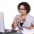 Hispanic Businesswoman at Her Desk Working — Stock Photo