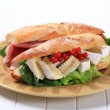 Stock Photo: Cheese and ham sub sandwiches
