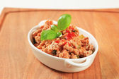 Stir-fried minced meat — Stock Photo