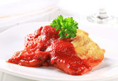 White fish fillets with tomato sauce — Stock Photo