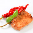 Pan-fried pork chop with chili peppers — Stock Photo