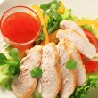 Stock Photo: Sliced chicken breast with salad and sweet chilli sauce