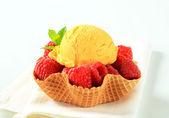 Fruit ice cream dessert — Stok fotoğraf