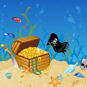 Underwater treasure chest — Stock Vector