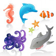 Set of Vector Cartoon Sea Creatures — Stock Vector #11547617