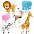 Vector African Cartoon Animals — Stock Vector