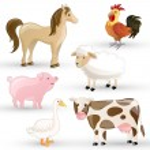 Vector Set of isolated Farm Animals — Stock Vector