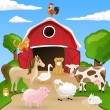Stock Vector: Vector Farm with animals