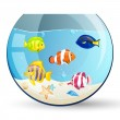 Vector Aquarium with Colorful Fishes — Stock Vector #11547687