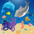 Royalty-Free Stock Vectorielle: Set of Vector Cartoon Sea Creatures