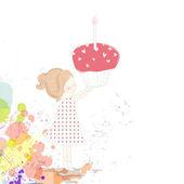 Vector meisje met een cake van de kindverjaardag — Stockvector