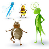 Cute Vector Insects — Stock Vector