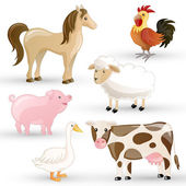 Vector Set of isolated Farm Animals — Stock Vector