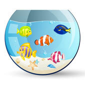 Vector Aquarium with Colorful Fishes — Stock Vector