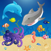 Set of Vector Cartoon Sea Creatures — Stock Vector