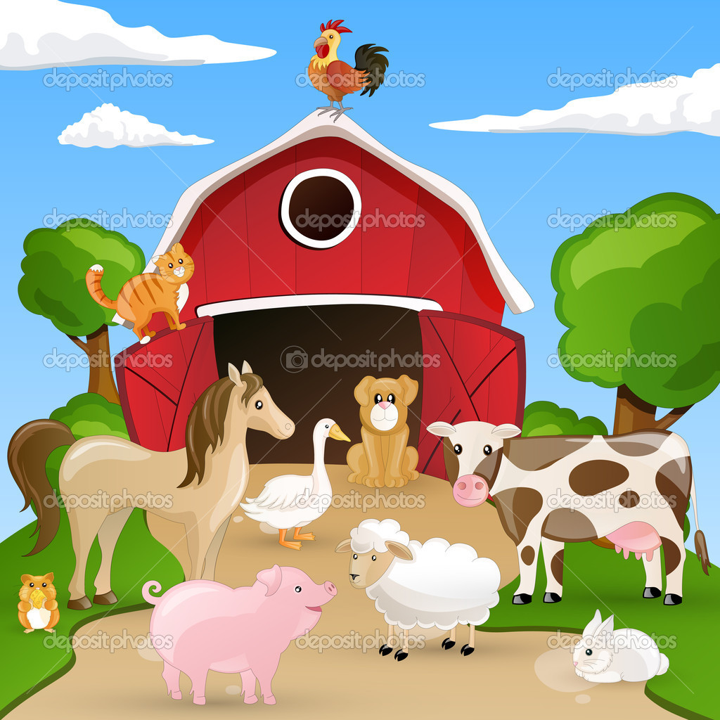 Vector illustration of farm animals infront of a barn — Stock Vector #11547664