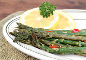 Roasted asparagus, macro with selective focus. — Stock Photo
