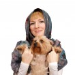 Girl with a Yorkshire terrier on a white background — Stock Photo