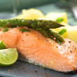 Stock Photo: Baked Salmon with Asparagus