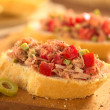 Bread with Tuna Olive and Tomato Spread — Stock Photo