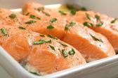 Baked Salmon in Casserole — Stock Photo