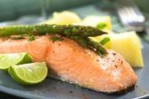 Baked Salmon with Asparagus — Stock Photo