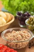 Tuna in Glass Bowl — Stock Photo