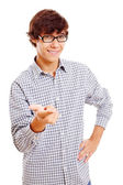 College student shows forefinger — Stock Photo