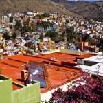 Solar panels on rooftop Guanajuato Mexico — Stock Photo