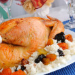 Grilled chicken with rice and dried fruits — Stock Photo