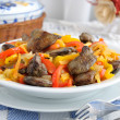 Stock Photo: Chicken liver with vegetables
