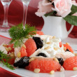Stock Photo: Salad with chicken, grapefruit and prunes