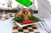 Chicken leg stuffed with mushrooms in pastry — Stock Photo