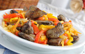 Chicken liver with vegetables — Zdjęcie stockowe