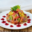 Salmon salad with fruit — Stock Photo