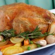 Stock Photo: Roasted Chicken with Vegetables