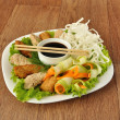 Chicken fillet with rice noodles and vegetables — Stock Photo