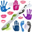 Set hands, lips, foots, footsteps prints — Stock Vector #10910877