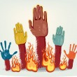 Voting fire hands isolated on grey metallic background — Stock Vector