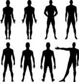 Front de pleine longueur, dos silhouette d'homme — Vecteur