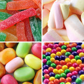 Four different candy background — Stock Photo