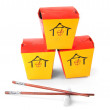 Three chinese  containers — Stock Photo