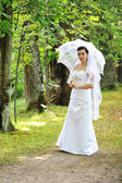Bride with umbrella — Foto de Stock